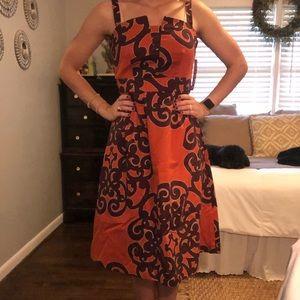 Orange and purple midi dress